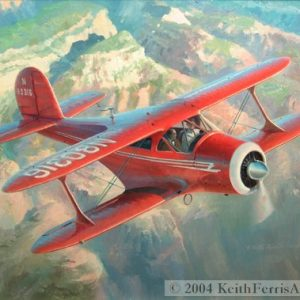 "The Classic Staggerwing  - Original Painting by Keith Ferris Contact Keith Ferris Galleries  Call 973.539.3363 for more information. 24"" x 32 Oil on panel Beech 17"
