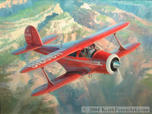 """The Classic Staggerwing -Original Painting by Keith Ferris ContactKeith Ferris Galleries Call 973.539.3363 for more information. 24"""" x 32 Oil on panel Beech 17"""