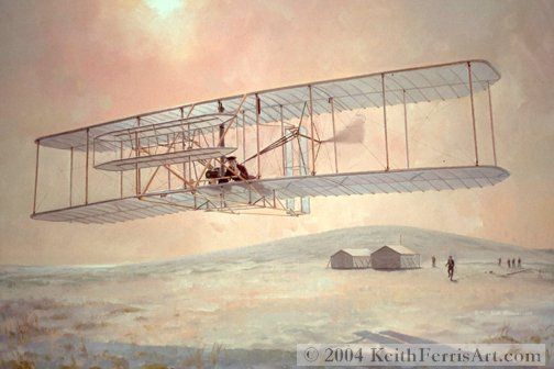 "Controlled Powered Flight - Original Painting by Keith Ferris Contact Keith Ferris Galleries  Call 973.539.3363 for more information. 28"" x 42""  Oil on Canvas Wright Flyer"