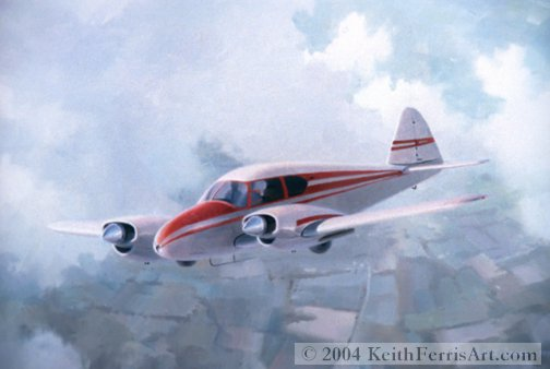 "Piper Apache, Everybody's Twin  - Original Painting by Keith Ferris Contact Keith Ferris Galleries  Call 973.539.3363 for more information.  18"" x 24"" Oil on board Piper Apache"