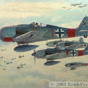 "Real Trouble - Original Painting by Keith Ferris Contact Keith Ferris Galleries  Call 973.539.3363 for more information. 26"" x 42"" Oil on canvas Fw-190s Fw190A-8/R8 ""Sturmbock"" bomber killers skirt guns of one bomb group as they stalk the lead group."