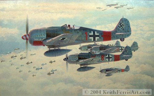 """Real Trouble-Original Painting by Keith Ferris ContactKeith Ferris Galleries Call 973.539.3363 for more information. 26"""" x 42"""" Oil on canvas Fw-190s Fw190A-8/R8 """"Sturmbock"""" bomber killers skirt guns of one bomb group as they stalk the lead group."""