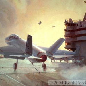 "The Future of Naval Aviation - Original Painting by Keith Ferris Contact Keith Ferris Galleries  Call 973.539.3363 for more information. 28"" x 42"" Oil on canvas Lockheed Martin F-35C Joint Strike Fighter"